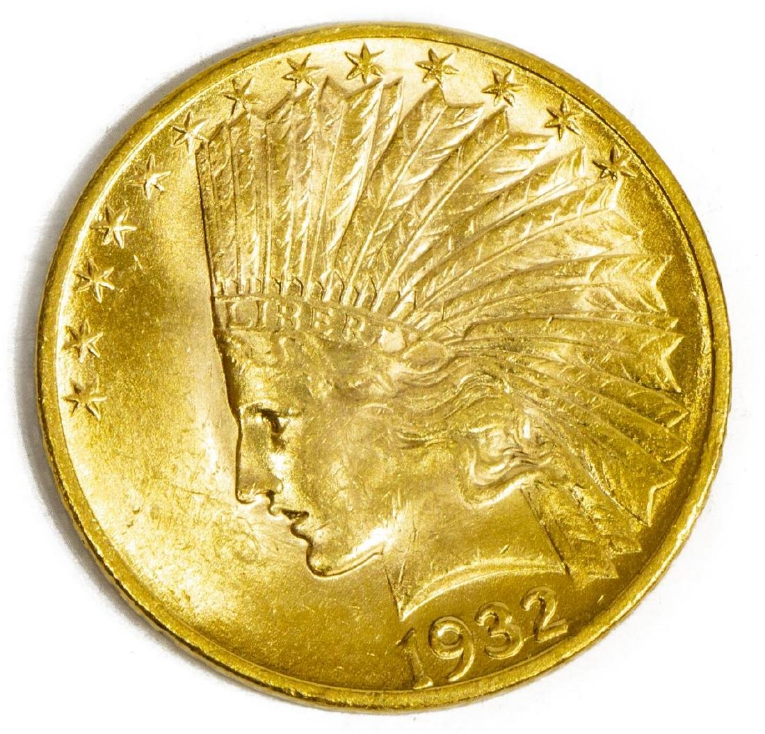 U.S. $10 GOLD TEN DOLLAR 1932 INDIAN HEA D COIN