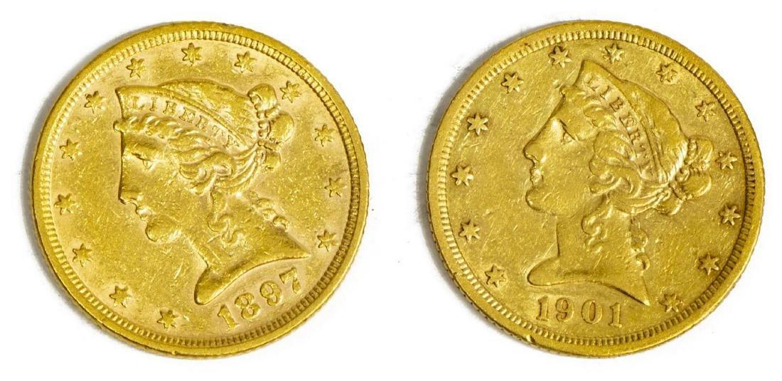 (2) US $5 GOLD FIVE DOLLAR HALF EAGLE, 1897, 1901S