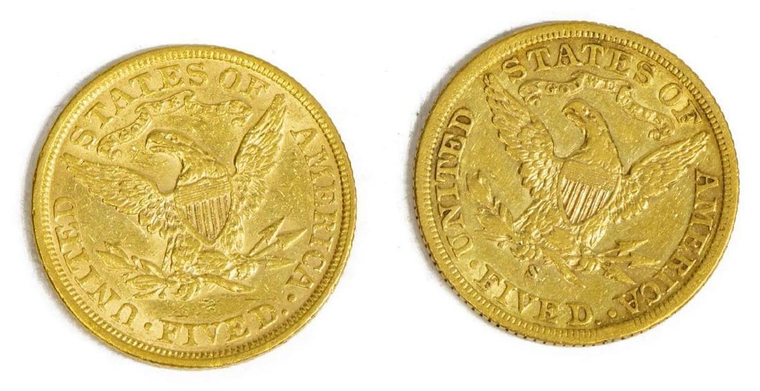 (2) US $5 GOLD FIVE DOLLAR HALF EAGLE, 1897, 1901S - 2