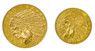 (2) U.S. $5 & $2.1/2 GOLD INDIAN HEAD COINS