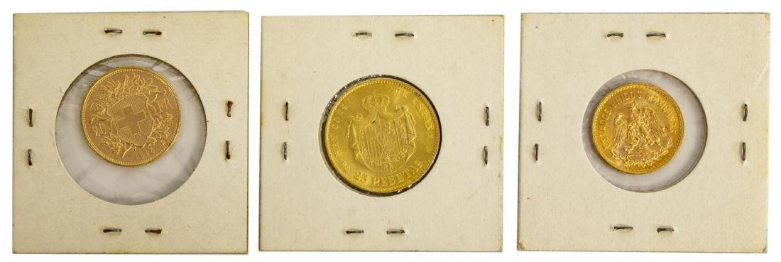 (3) GOLD COINS, SWISS, SPAIN, MEXICO - 2