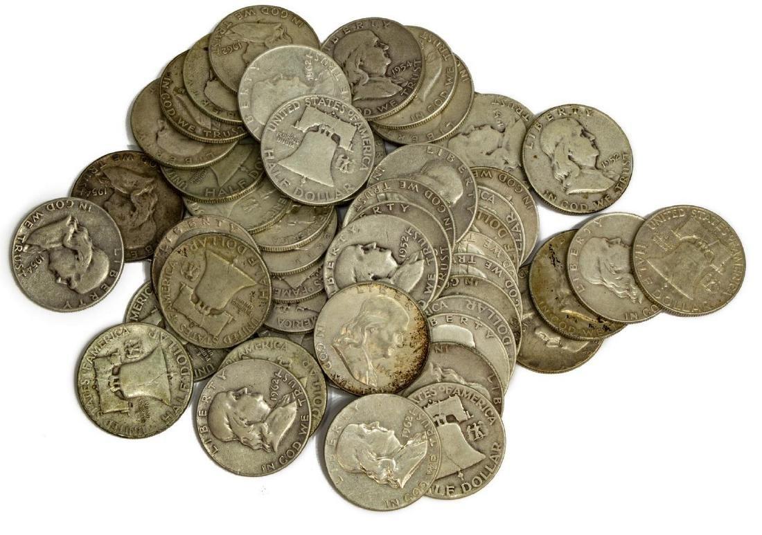 (51) U.S. FRANKLIN HALF DOLLARS, .90 SILVER