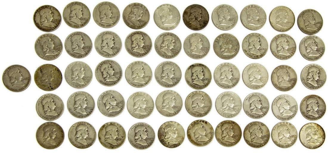 (51) U.S. FRANKLIN HALF DOLLARS, .90 SILVER - 2