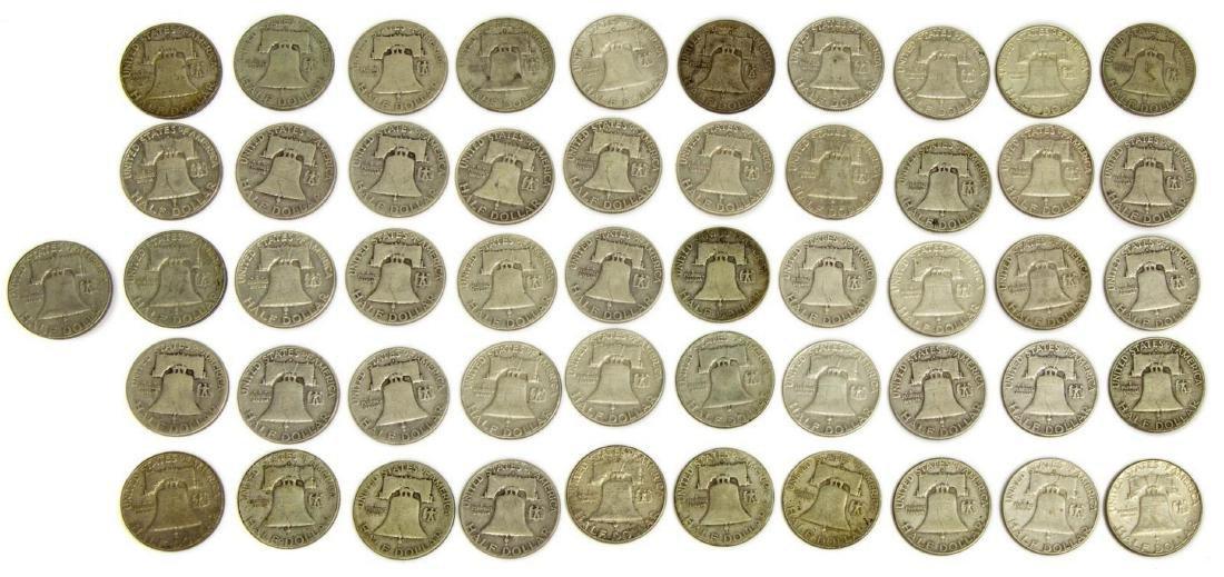 (51) U.S. FRANKLIN HALF DOLLARS, .90 SILVER - 3