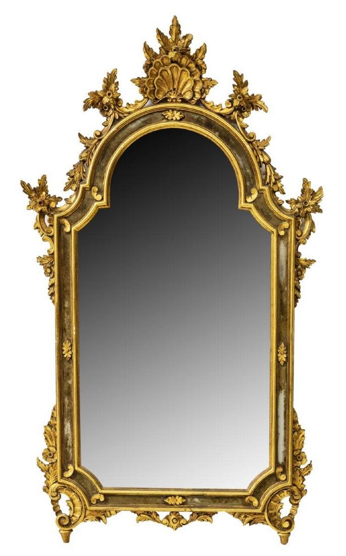 LOUIS XV STYLE ROCAILLE GILTWOOD WALL MIRROR