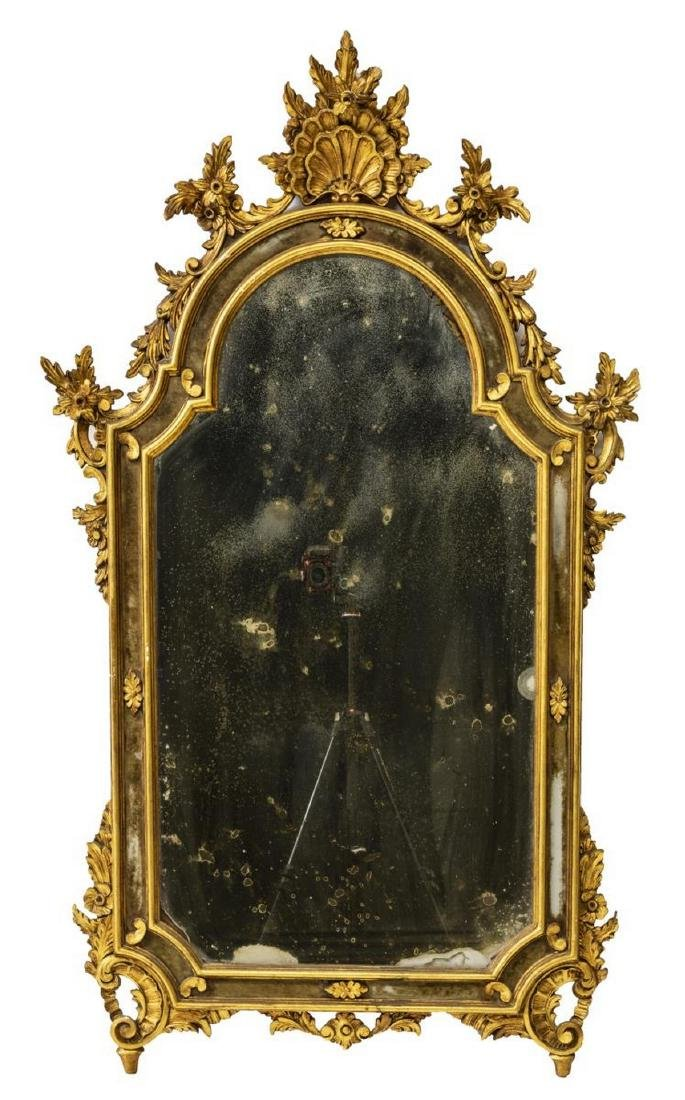 LOUIS XV STYLE ROCAILLE GILTWOOD WALL MIRROR - 2