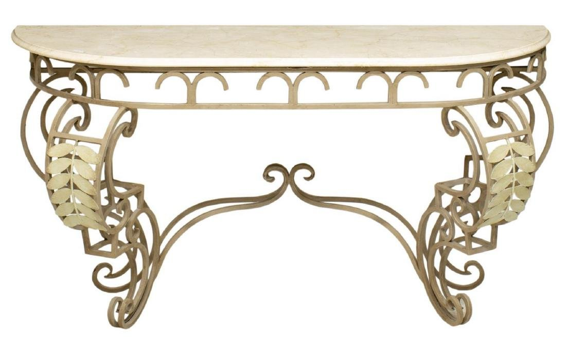 CONTINENTAL MARBLE TOP IRON DEMILUNE CONSOLE TABLE