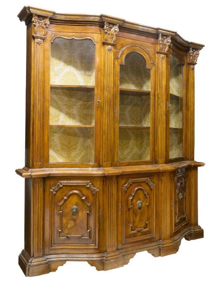 Italian Tuscan Monumental Stepback Bookcase