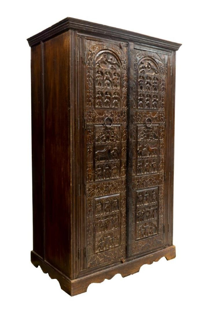 HEAVILY CARVED INDIA ARCHITECTURAL PANEL ARMOIRE - 2