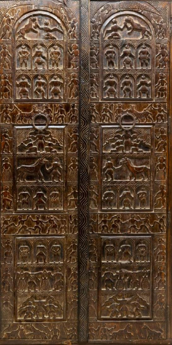 HEAVILY CARVED INDIA ARCHITECTURAL PANEL ARMOIRE - 3