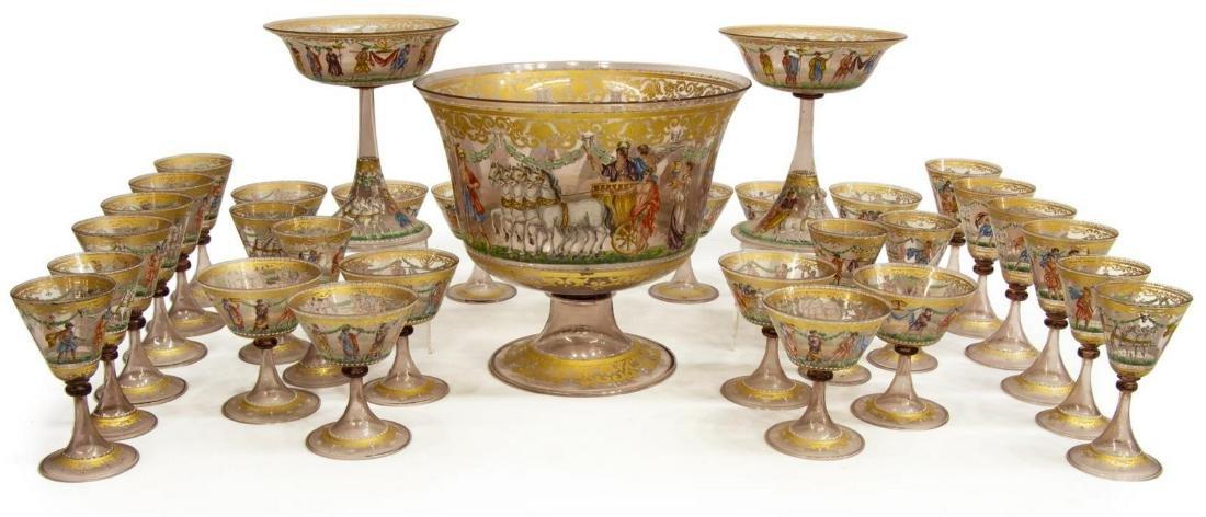 (44) SPECTACULAR VENETIAN ENAMELED GLASS SERVICE