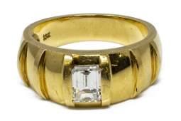 ESTATE GENTS 18KT GOLD & 1CT EMERALD DIAMOND RING