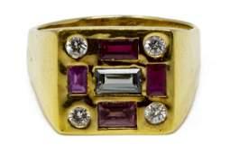 ESTATE 18KT GOLD RUBY DIAMOND  SAPPHIRE RING