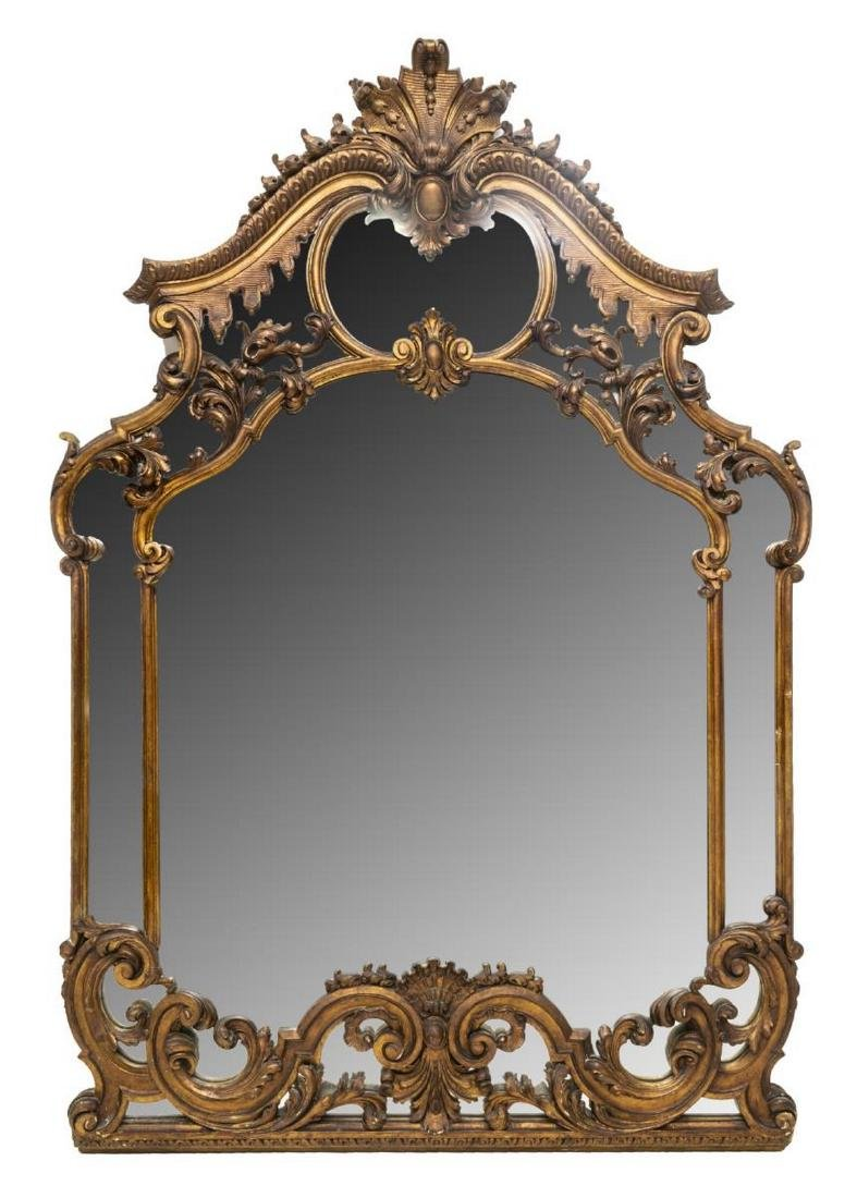 ITALIAN LOUIS XV STYLE CARVED GILTWOOD WALL MIRROR
