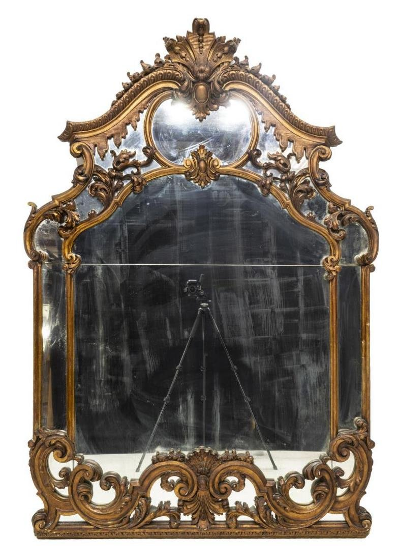 ITALIAN LOUIS XV STYLE CARVED GILTWOOD WALL MIRROR - 2