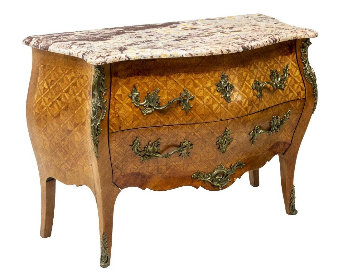 LOUIS XV STYLE MARBLE TOP PARQUETRY COMMODE