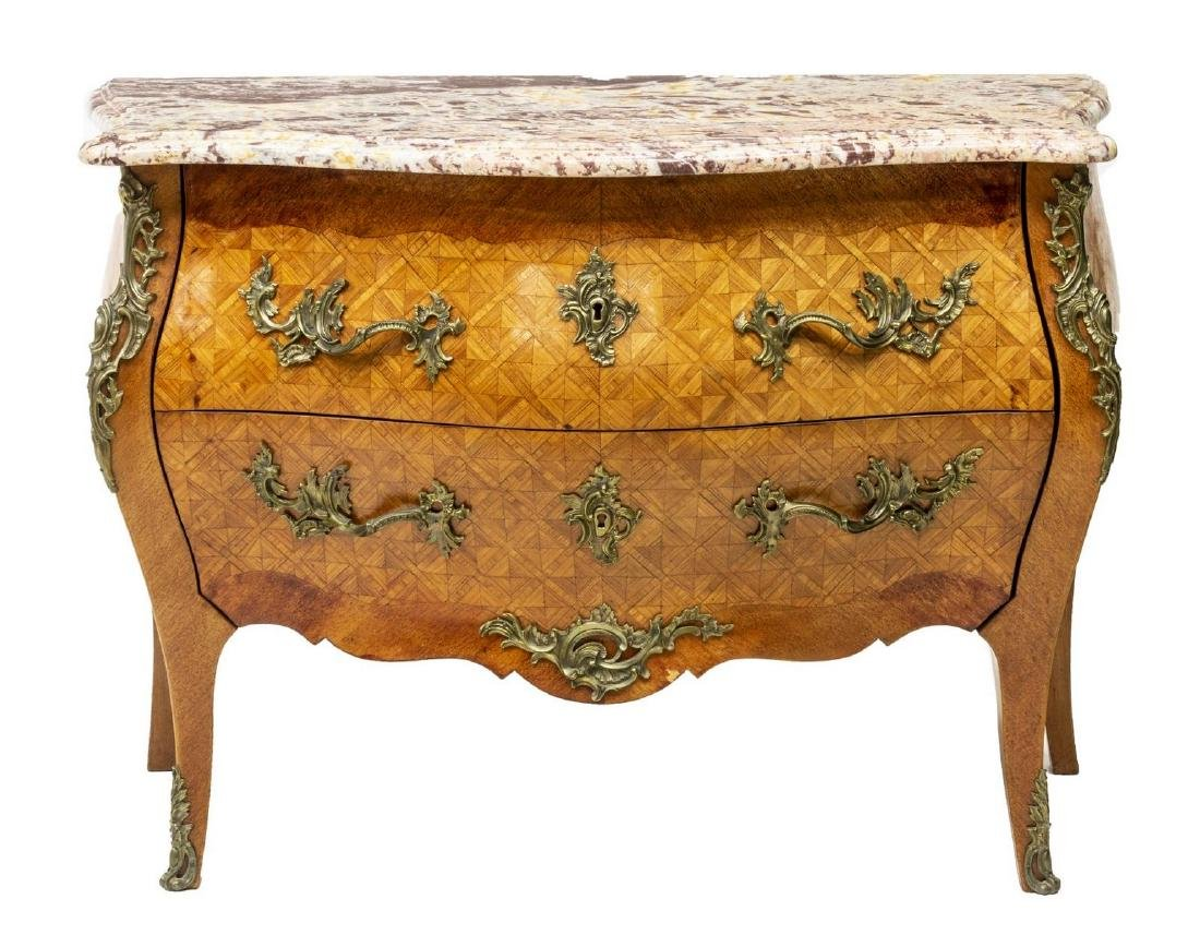 LOUIS XV STYLE MARBLE TOP PARQUETRY COMMODE - 2