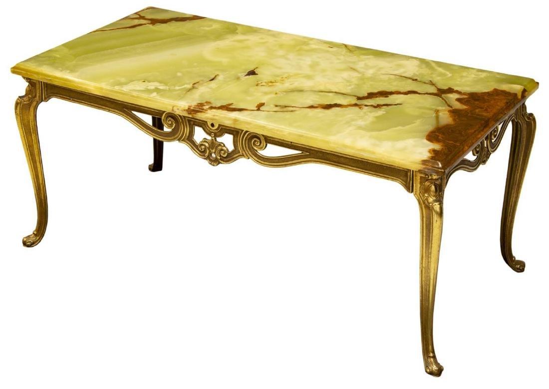 FRENCH LOUIS XV STYLE ONYX GILT METAL COFFEE TABLE