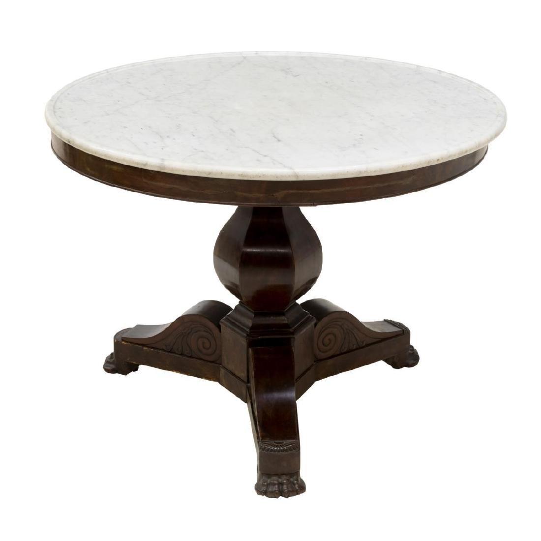 FRENCH EMPIRE STYLE MAHOGANY MARBLE CENTER TABLE