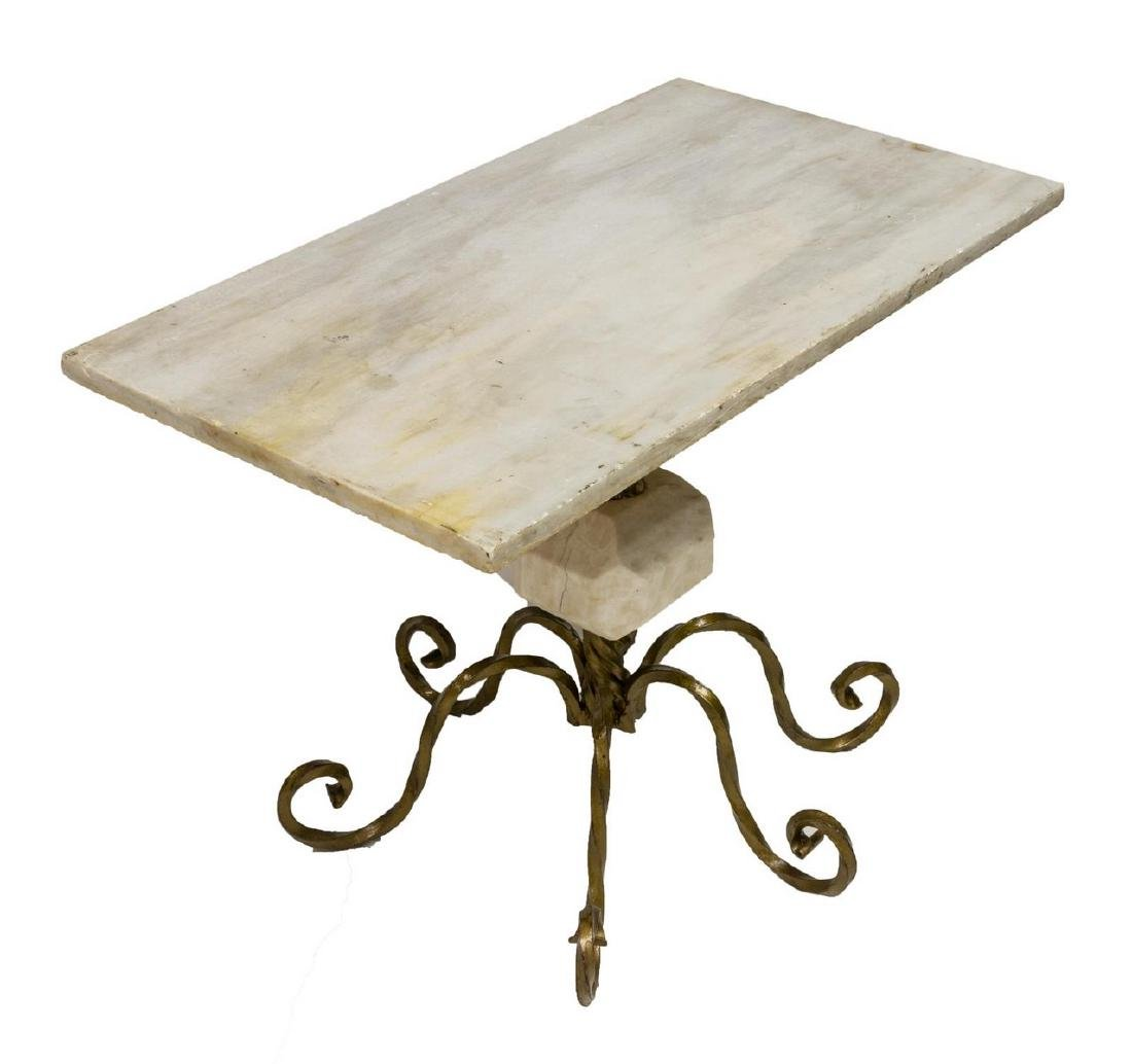 CONTINENTAL MARBLE & IRON OCCASSIONAL TABLE