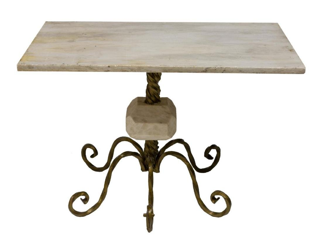 CONTINENTAL MARBLE & IRON OCCASSIONAL TABLE - 2