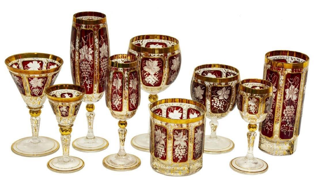9) BOHEMIAN CRANBERRY GLASS STEMWARE PLACE SETTING