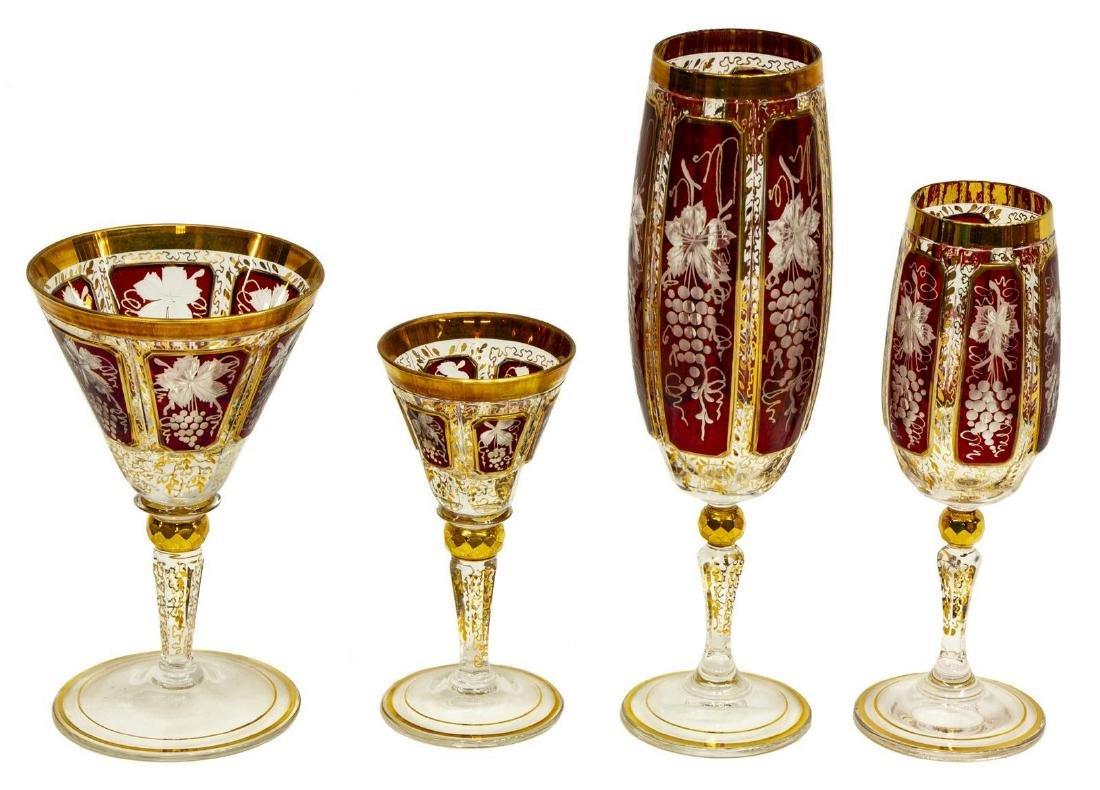 9) BOHEMIAN CRANBERRY GLASS STEMWARE PLACE SETTING - 2