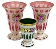 3 BOHEMIAN GILT ENAMELED OVERLAY GLASS VASES