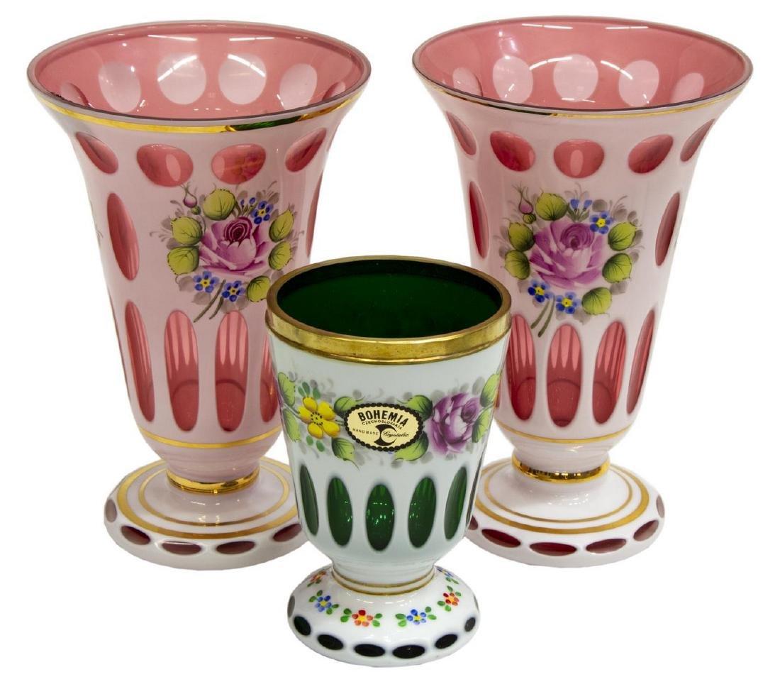 (3) BOHEMIAN GILT ENAMELED OVERLAY GLASS VASES