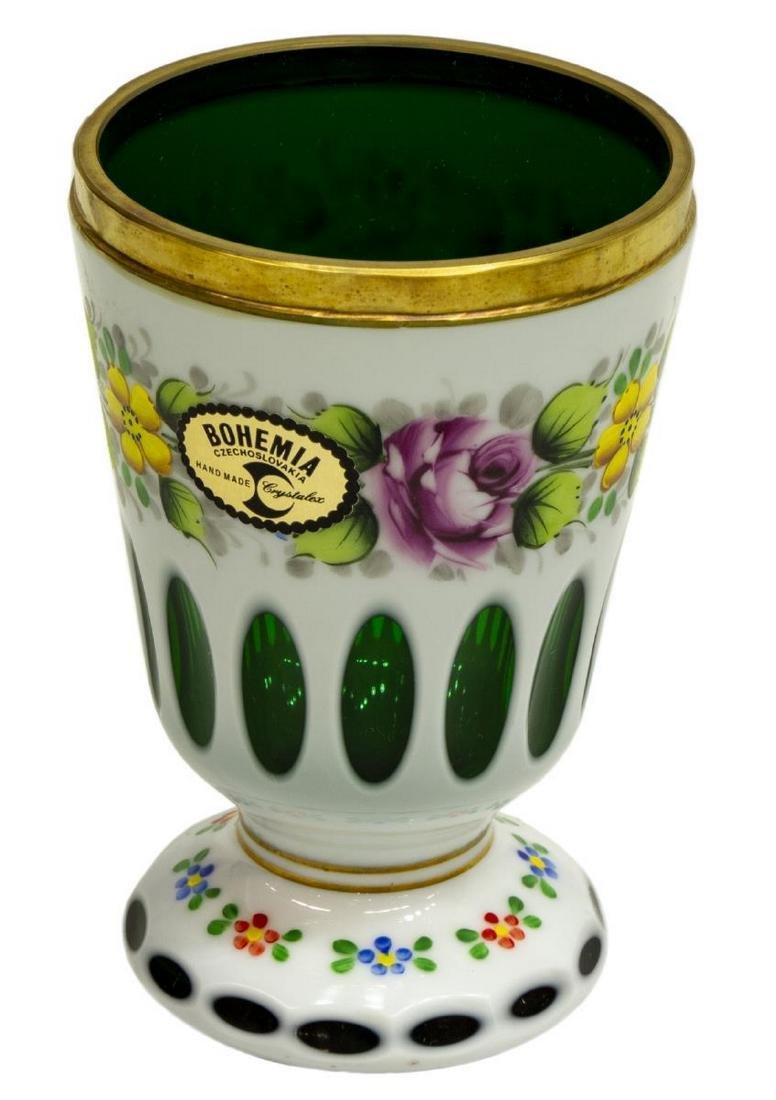 (3) BOHEMIAN GILT ENAMELED OVERLAY GLASS VASES - 4