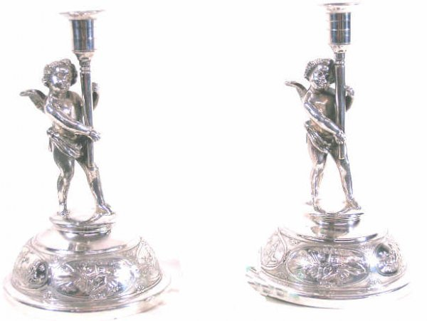 507: MIDDLETOWN SILVERPLATE FIGURAL CHERUB CANDLESTICKS