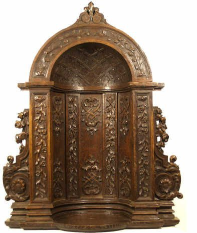719: 18TH C FRENCH FINELY CARVED OAK NICHE/ ALTAR
