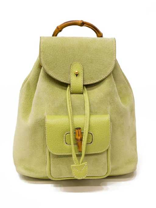 f87a642638d GUCCI BAMBOO GREEN SUEDE   LEATHER BACKPACK