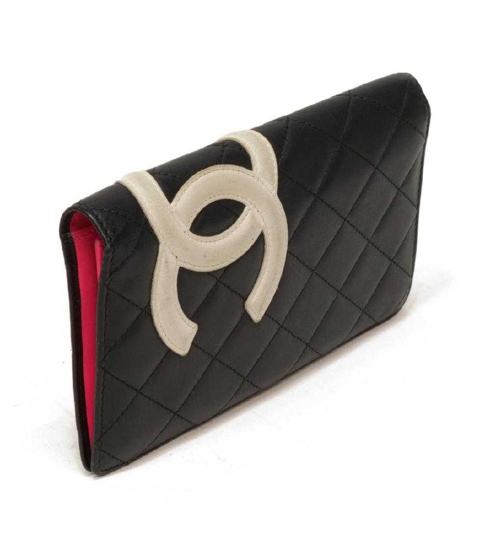 aa0765d8e7acbb CHANEL BLACK QUILTED LEATHER LONG BIFOLD WALLET