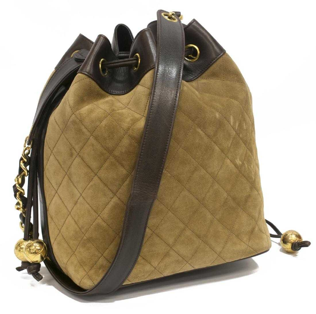abc00591bb1777 CHANEL VINTAGE BROWN QUILTED SUEDE DRAWSTRING BAG
