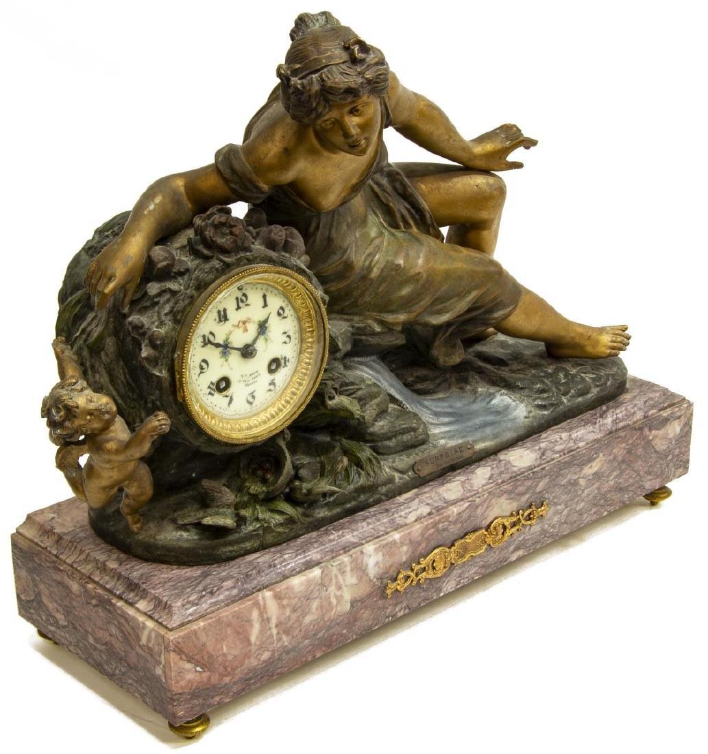 (3) FRENCH FIGURAL MANTEL CLOCK & URN GARNITURES - 2