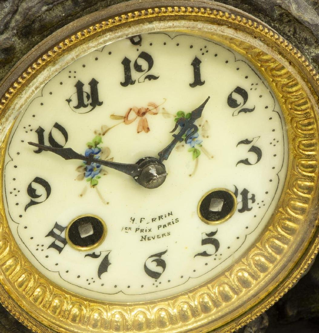 (3) FRENCH FIGURAL MANTEL CLOCK & URN GARNITURES - 3