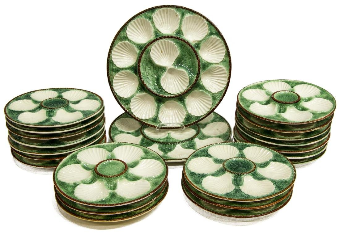 (20) FRENCH MAJOLICA CERAMIC SHELL OYSTER PLATES