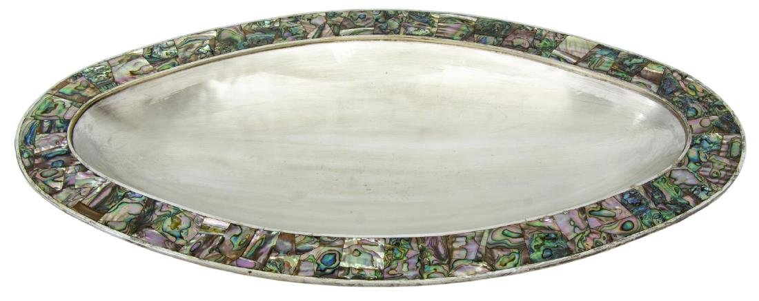 MEXICAN LOS CASTILLO SILVERPLATE & ABALONE TRAY