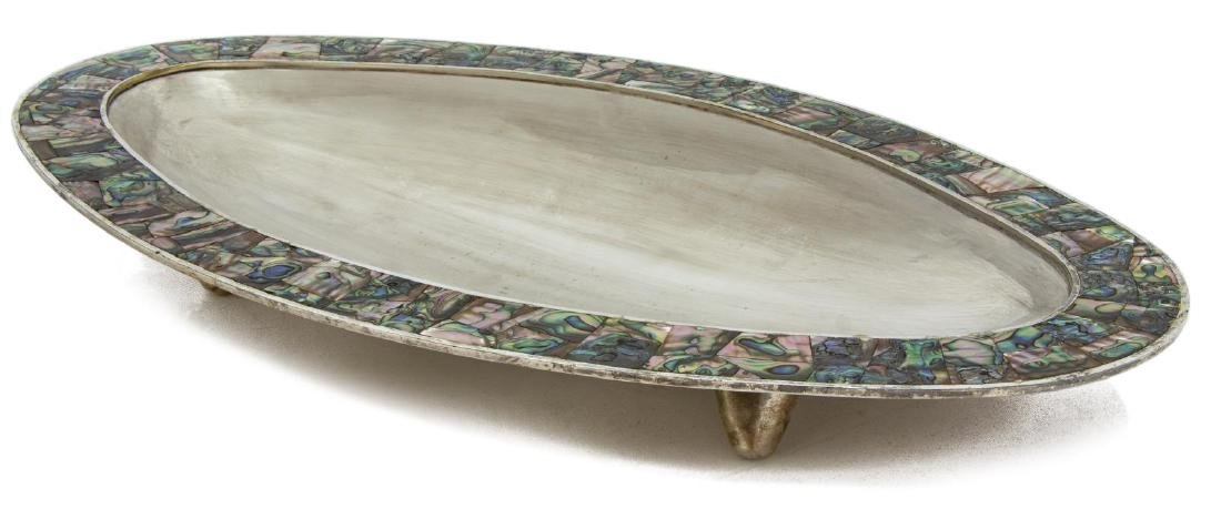 MEXICAN LOS CASTILLO SILVERPLATE & ABALONE TRAY - 2