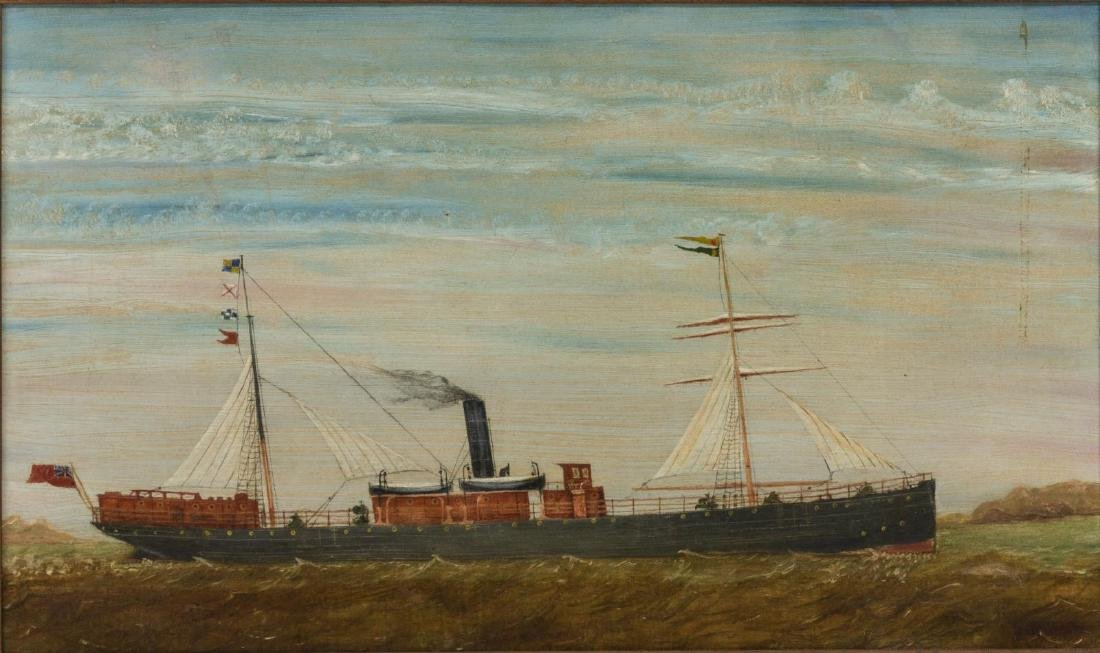 FRAMED OIL ON CANVAS CARGO SHIP PAINTING