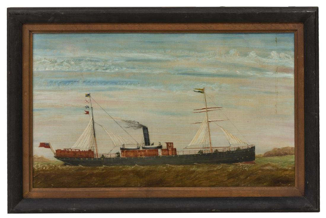 FRAMED OIL ON CANVAS CARGO SHIP PAINTING - 2