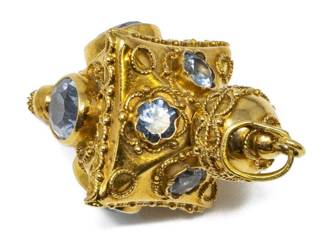 ESTATE 18KT GOLD & SYTHETIC BLUE SPINEL PENDANT - 2