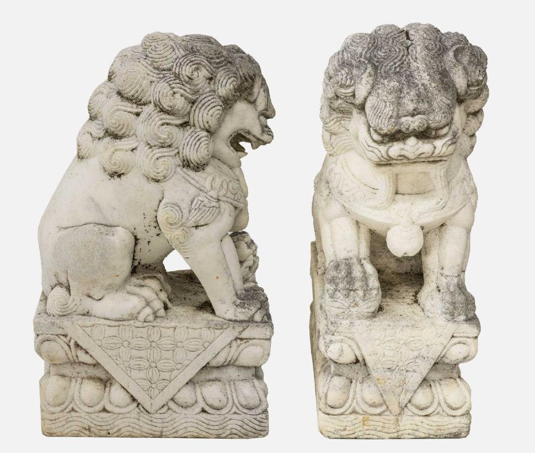 (2) CHINESE CARVED WHITE MARBLE FOO LION GUARDIANS