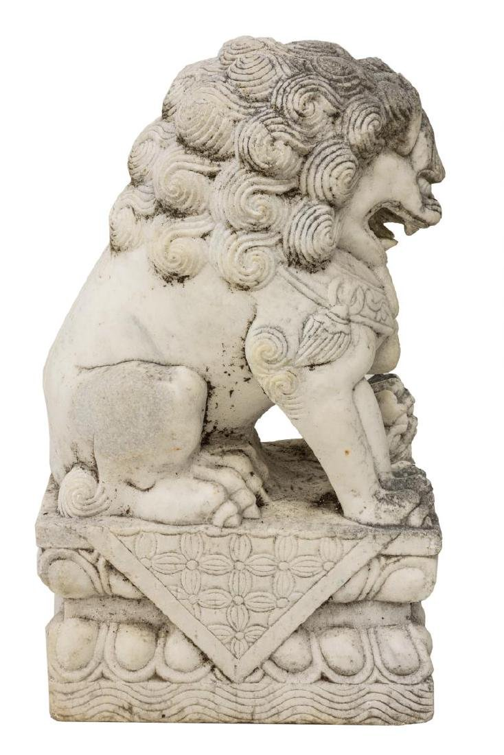 (2) CHINESE CARVED WHITE MARBLE FOO LION GUARDIANS - 3