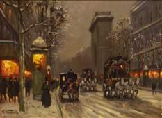 SIGNED PARIS STREET SCENE IN WINTER OIL PAINTING