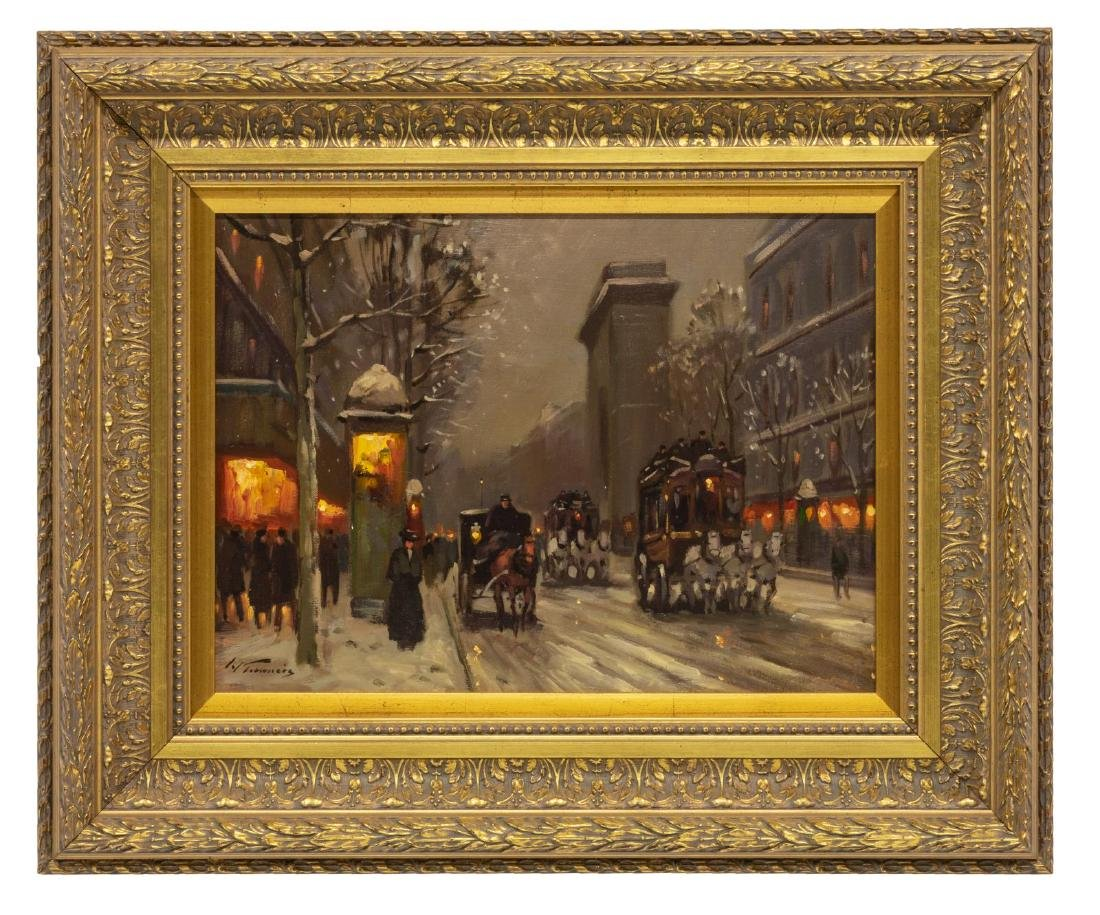 SIGNED PARIS STREET SCENE IN WINTER, OIL PAINTING - 2