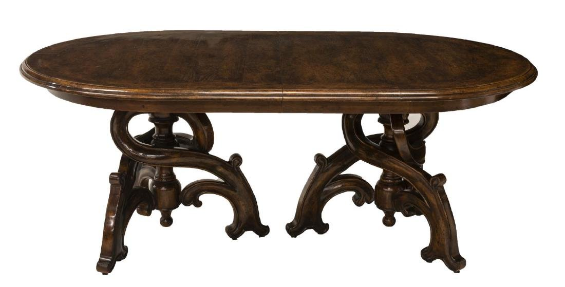 LARGE DOUBLE PEDESTAL EXTENSION DINING TABLE - 4