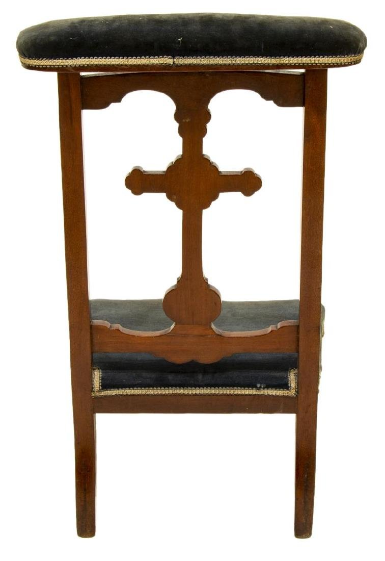 FRENCH CARVED UPHOLSTERED PRIE-DIEU PRAYER CHAIR - 3