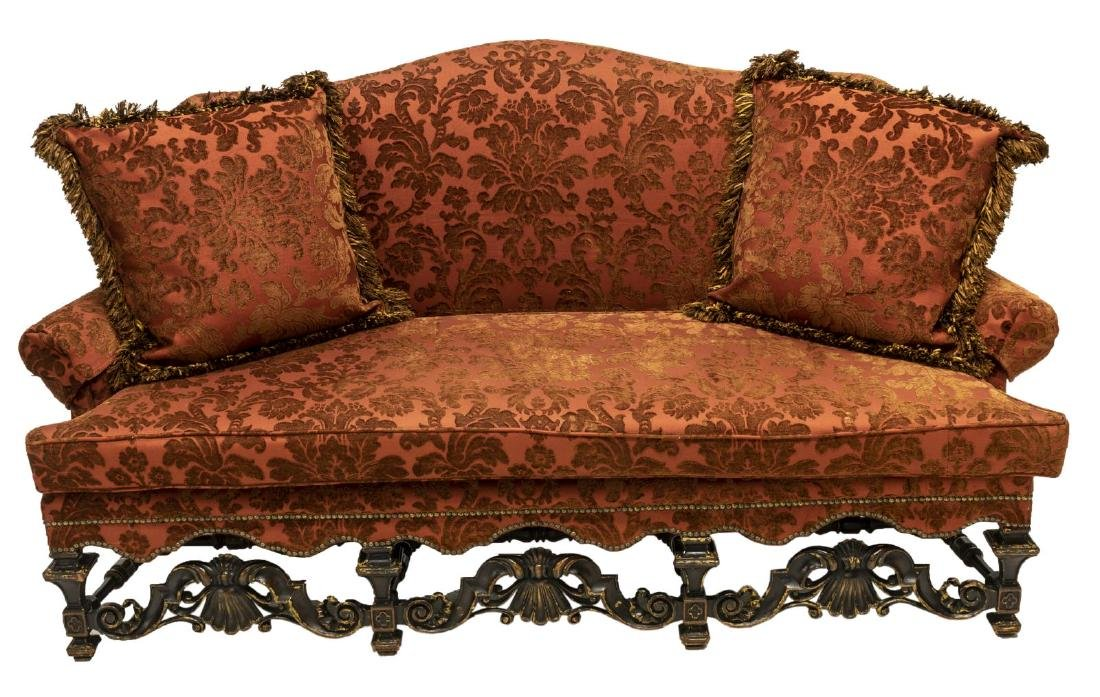 WILLIAM & MARY STYLE UPHOLSTERED SETTEE SOFA - 2